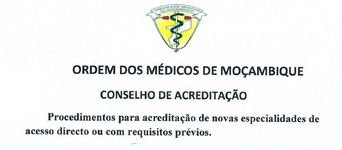 Procedimento para Acreditação de novas especialidades de acesso directo ou com requisitos previos